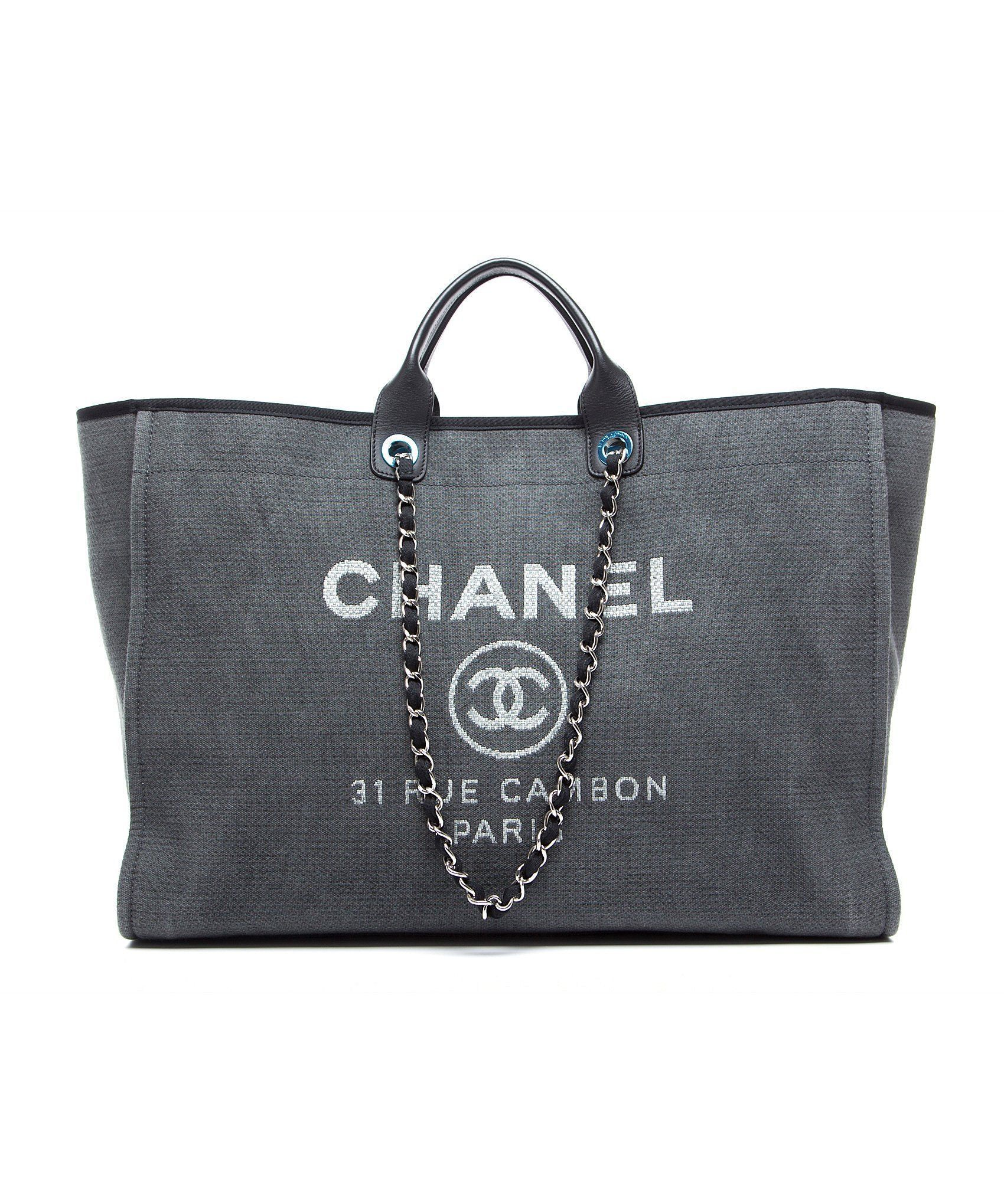Chanel Pre Owned Chanel Grey Canvas Deauville Xl Tote Bag