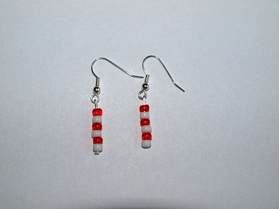 Candy Cane Colors Beaded Earrings by InfinityBeading on Etsy, $5.00
