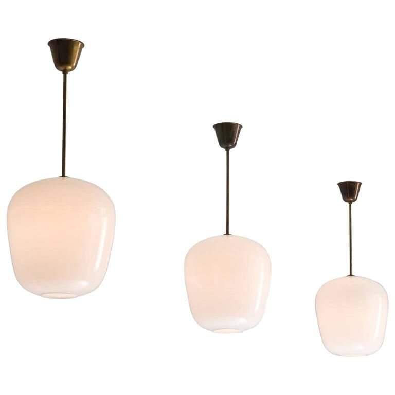 Set Of Three Pendants In Brass And Opaline Glass Opaline Pendant - Set of three pendant lights