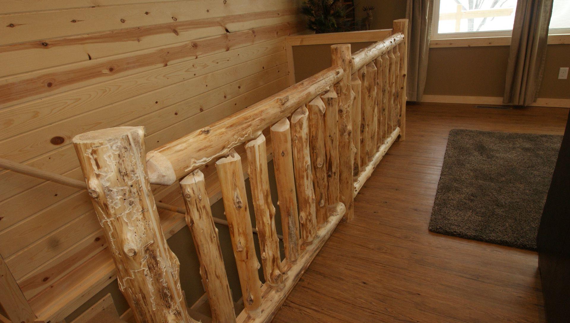 Custom Log Railing. Custom Log Furniture. Built In North Eastern Minnesota.  Vacation Rental