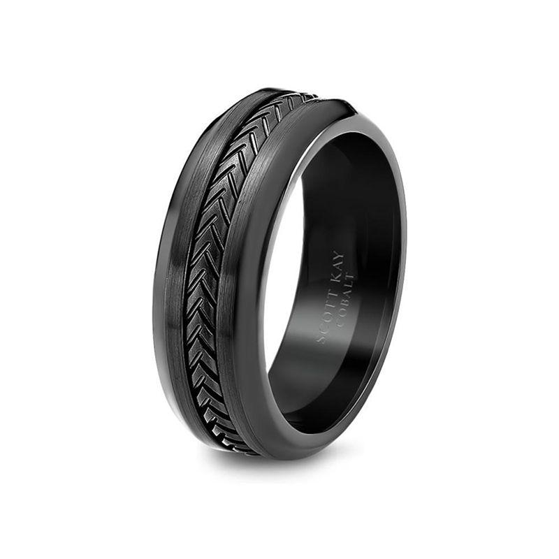 Black cobalt black titanium mens wedding band from the