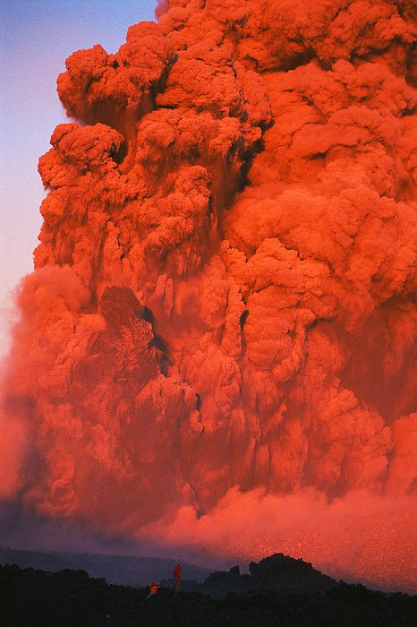 Two people watch mile high red smoke and lava from fissures   Photo by Carsten Peter with Pin-It-Button on FineArtAmerica