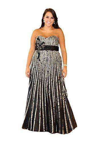 Sydney S Closet Sc7070 Strapless Long Plus Size Prom Dress Black White 20w Sydney Plus Size Prom Dresses Floral Plus Size Dresses Plus Size Formal Dresses