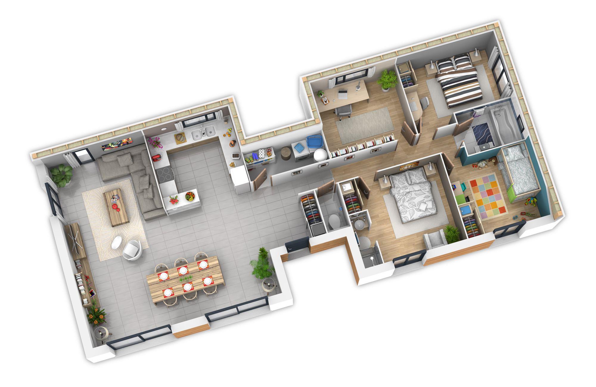 Intérieur natilla | Vivir PB | Plan maison ossature bois, Plan ...