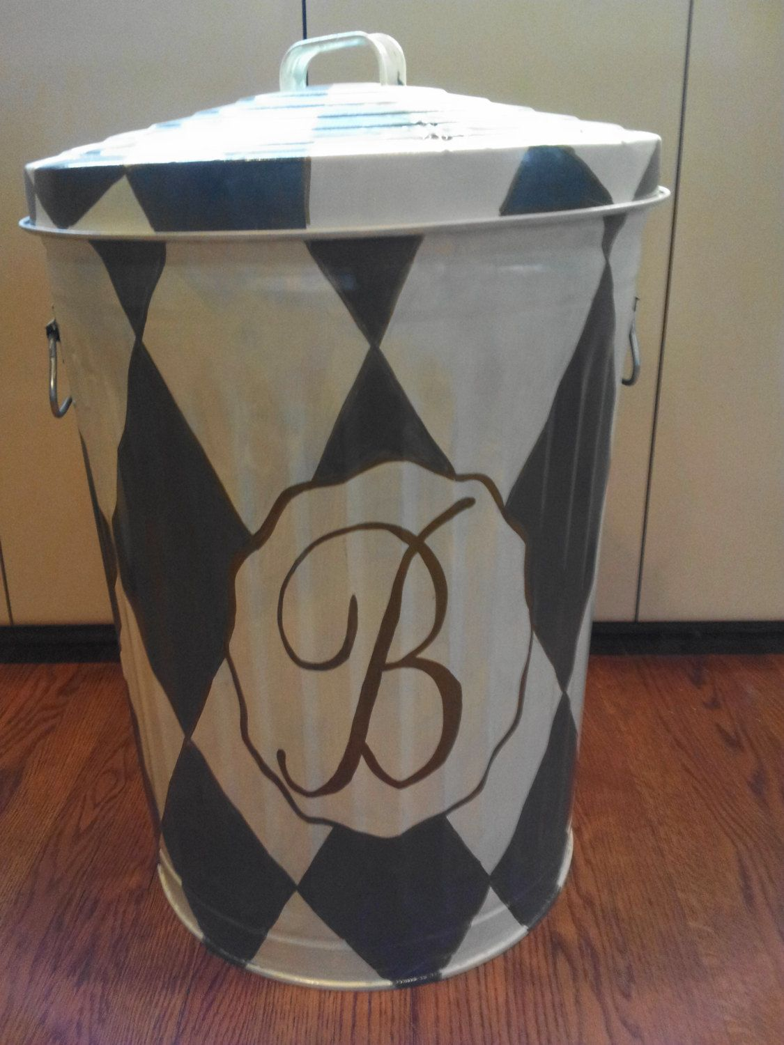 decorative hand painted personalized  monogrammed 20 gallon galvanized metal trash  garbage