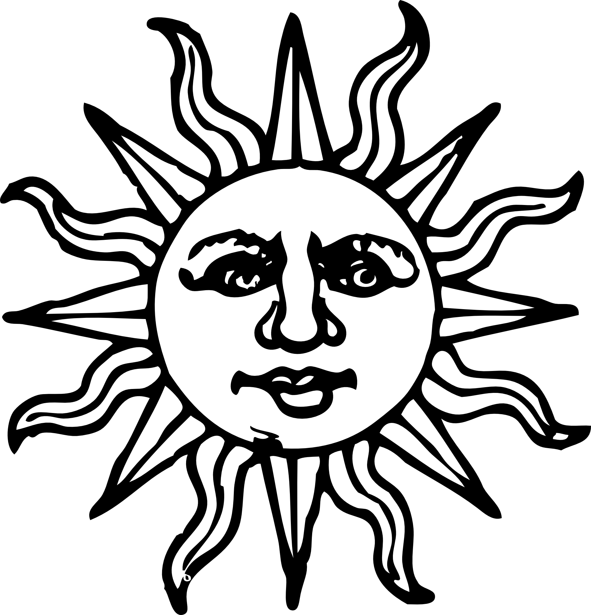 Sun Woodcut Black White Line Art Coloring Book