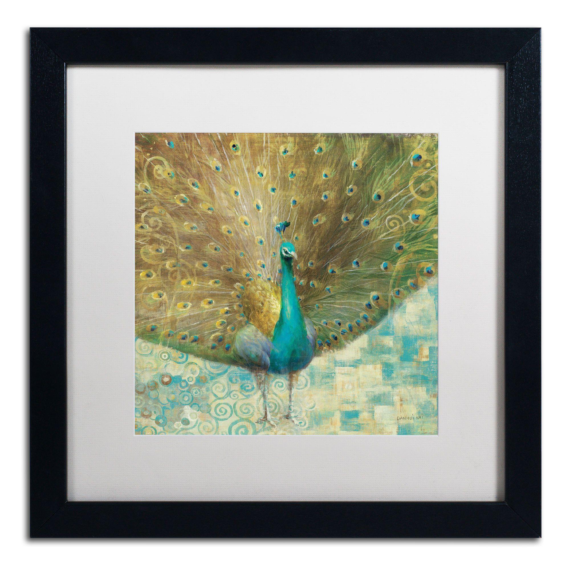 Teal peacock on goldu by danhui nai framed painting print