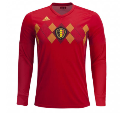 13d4ca8f0 Belgium 2018 World Cup Home Men Long Sleeve Soccer Jersey Personalized Name  and Number - zorrojersey