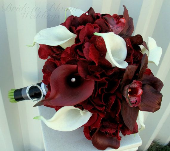 Wedding Flowers November: Wedding Bouquet Real Touch Brides Bouquet Red White Calla