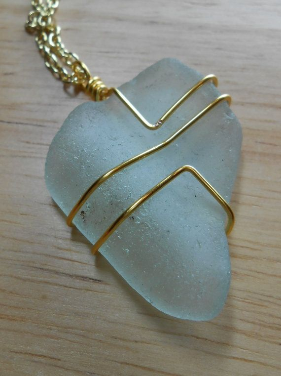 Sea Glass Jewelry - Wire Wrapped Beach Glass Necklace - IN THE ...