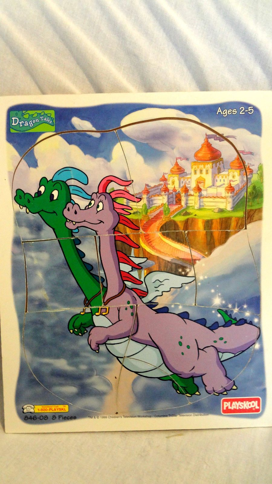 """Playskool """"Dragon Tales"""" wooden puzzle - Zak and Wheezie in flight"""