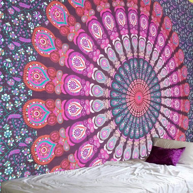Eye Catching Boho Tapestry Plans for 2019 & Beyond is part of Boho tapestry, Bohemian tapestry, Mandala wall decor, Tapestry, Weave artwork, Boho chic fashion - In the event that you are searching for something one of a kind to hold tight your dividers, think about a boho tapestry  In contrast to a surrounded painting, an embroidered artwork has development since it swings from a bar with beautifying finials