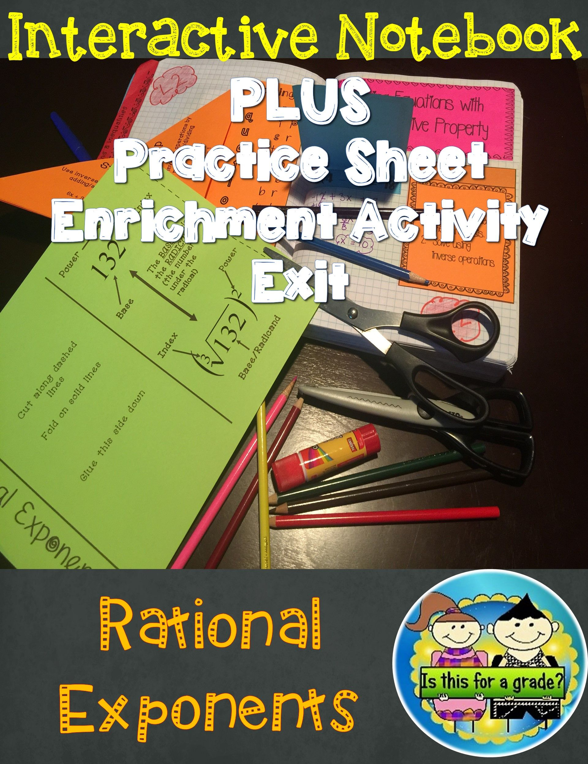 Rational Exponents Foldable Inb Activity Practice And