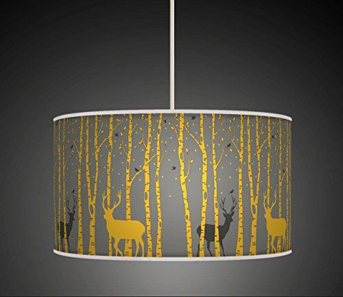30cm trees stag deer mustard yellow grey retro handmade giclee 30cm trees stag deer mustard yellow grey retro handmade giclee style printed fabric lamp drum lampshade aloadofball Choice Image