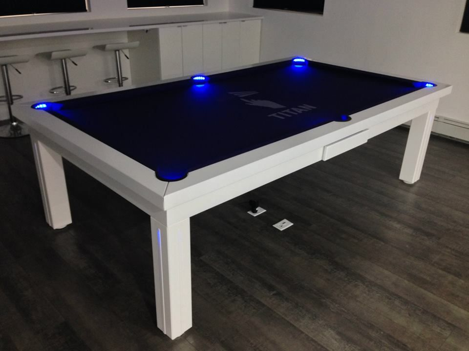 Pool Table Converts To Dining With Lights In Legs And Pockets