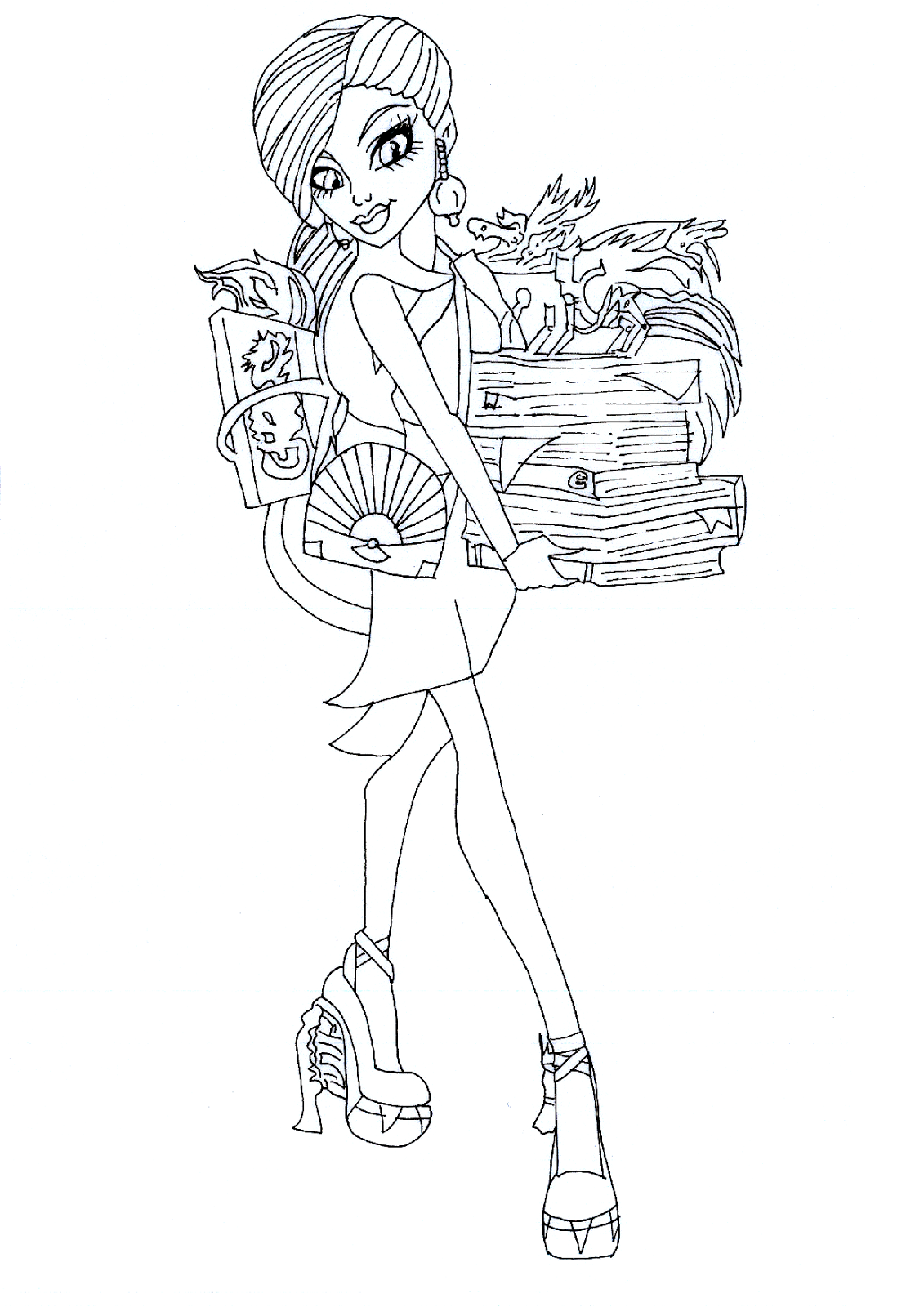 Monster High Jinafire Long Coloring Pages Pinterest