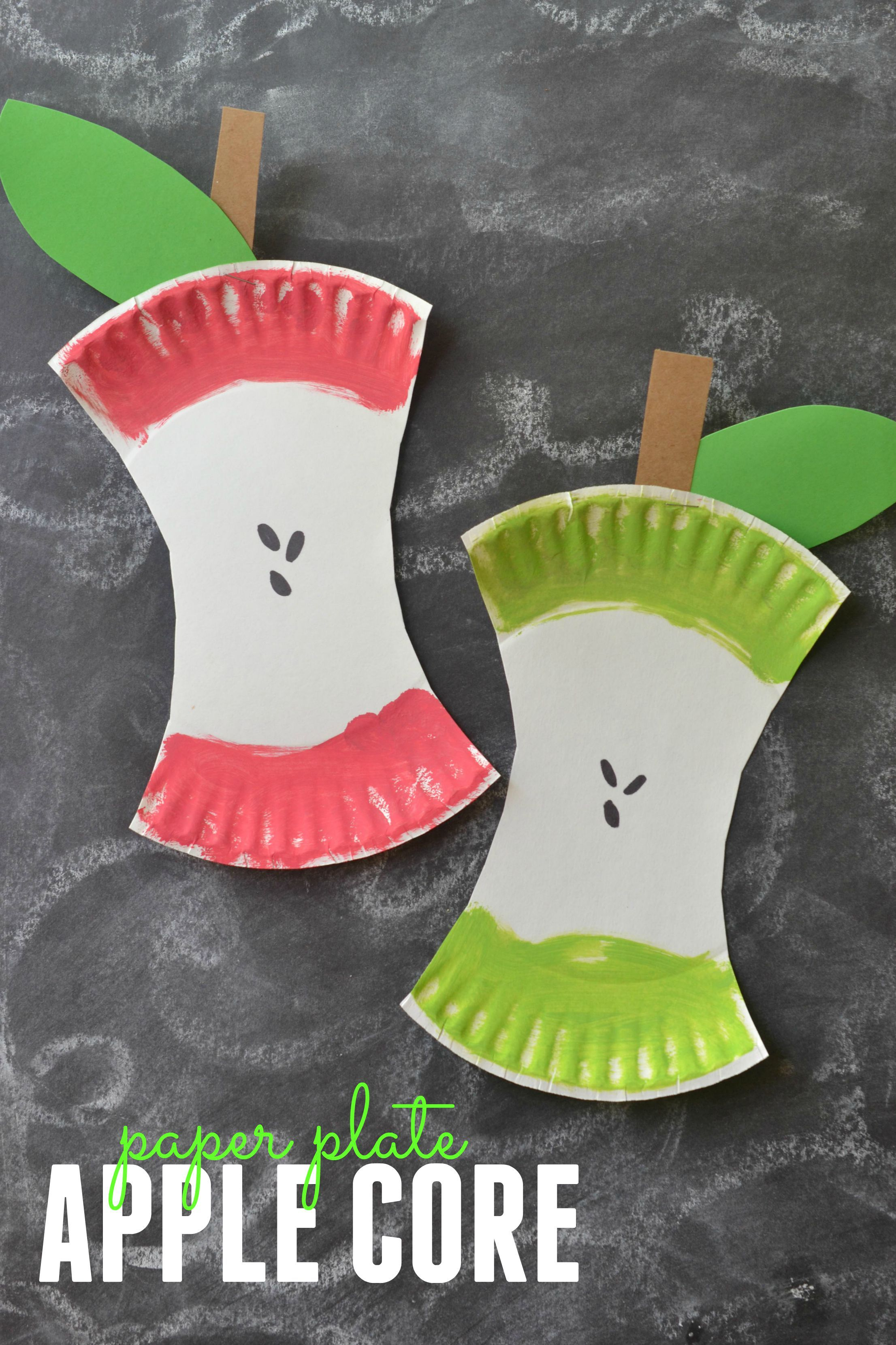 Kids Craft Project: Paper Plate Apple Core | Kids craft ...