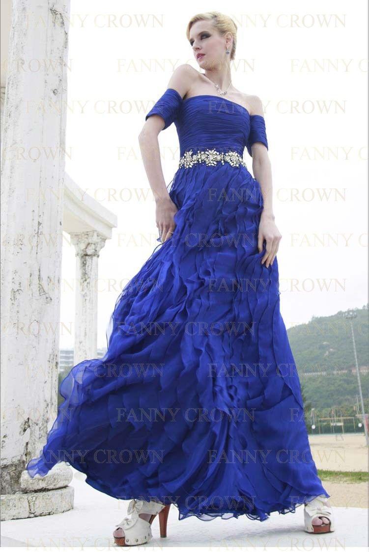 Vintage offtheshoulder long blue prom dresses dresses
