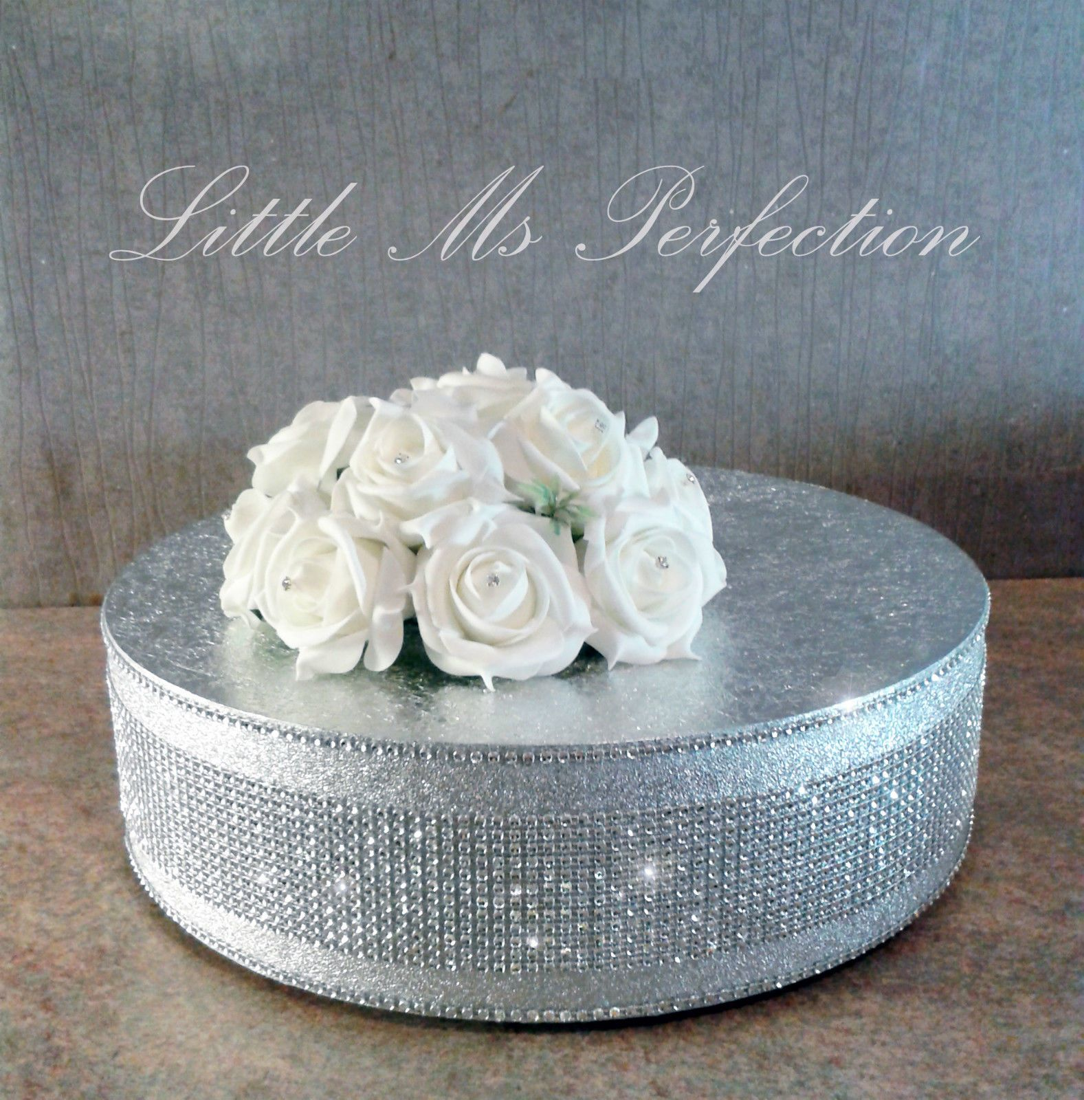 Silver diamante crystal wedding cake stand display pedestal sparkly