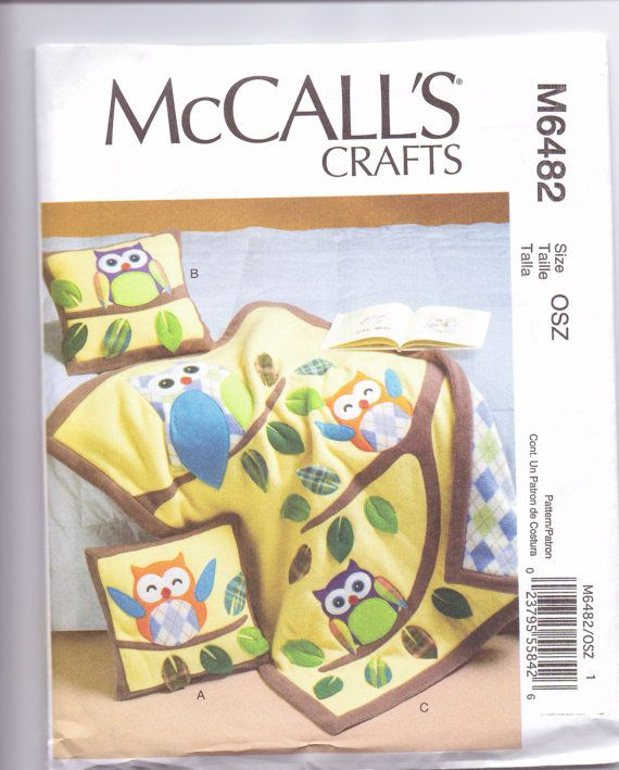 New McCalls Baby Quilt pattern owl quilt pillows two styles baby ... : baby quilt owl pattern - Adamdwight.com