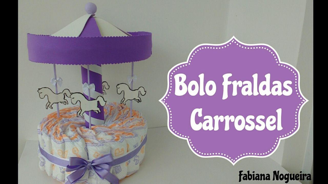 Diy Bolo Fraldas Em Formato De Carrossel Decoracao De Cha De