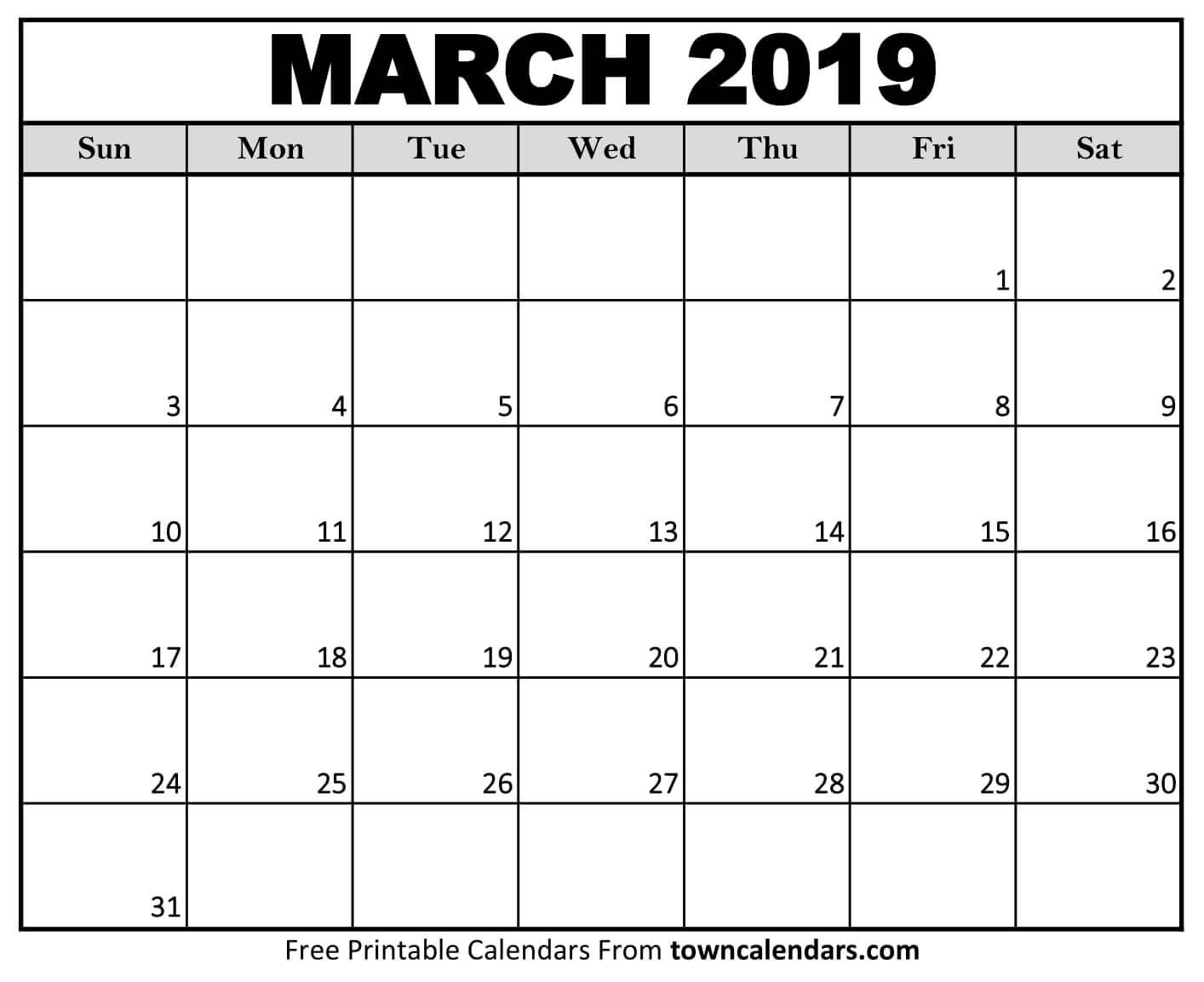 Calendar March 2019 In Pdf Word Excel Printable Template March