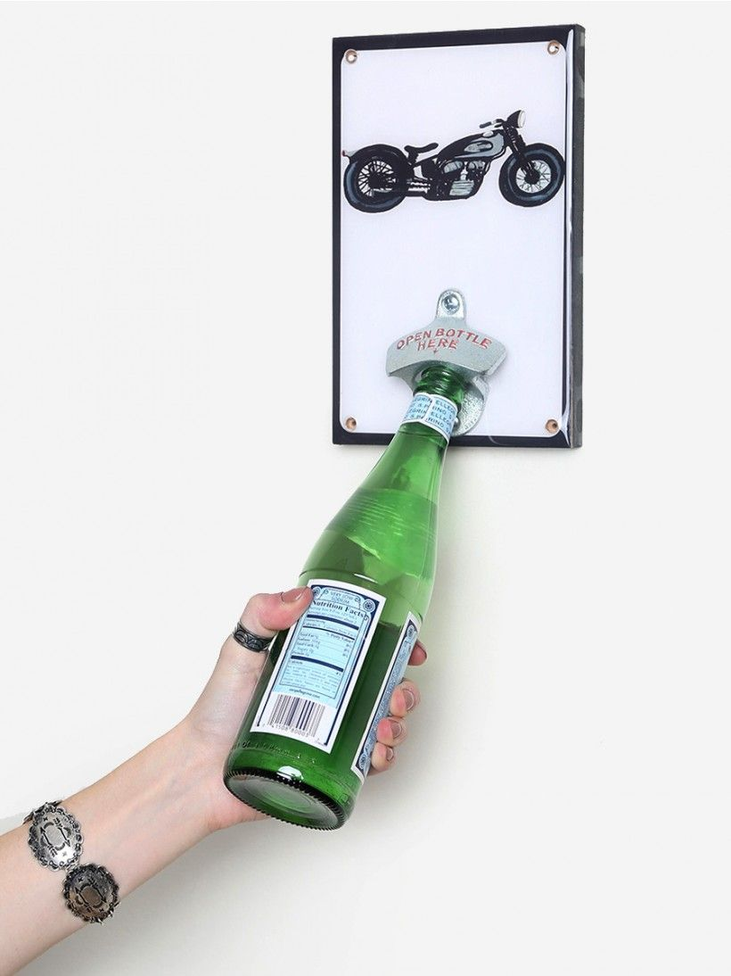 Handmade, wall-mount bottle opener, featuring an image of a black motorcycle and a sturdy, zinc-plated bottle opener at the bottom.