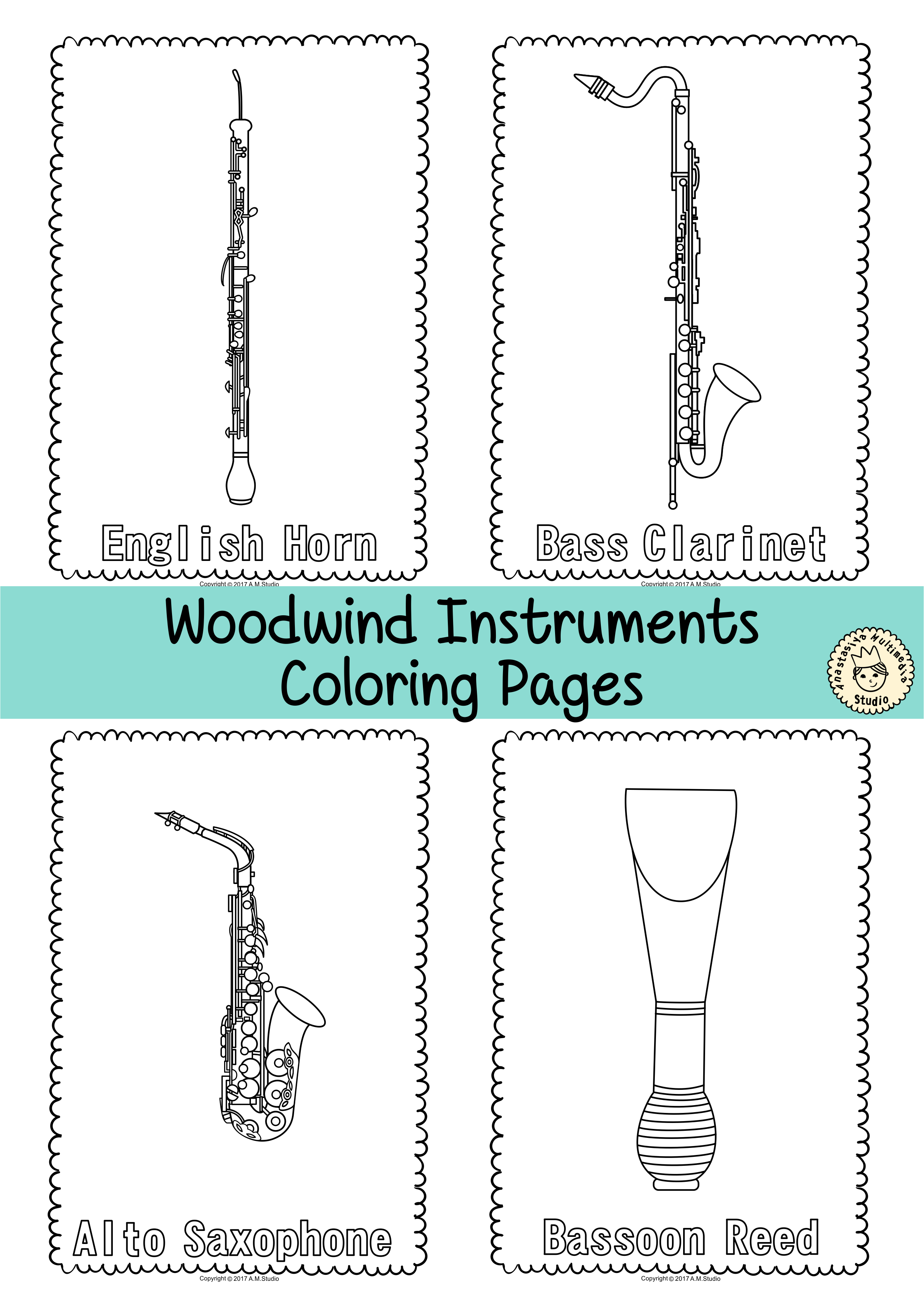 This resource contains 55 musical instrument coloring pages ...
