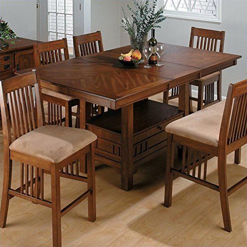 Bon Jofran Counter Height Table With Butterfly Leaf In Saddle Brown Oak Finish  Jofran Furniture, Dining