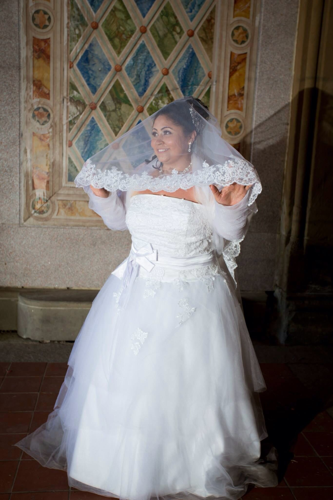 Onetier Lace Applique Edge Cathedral Bridal Veils With Applique
