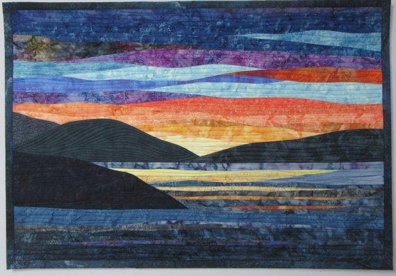 Art Quilt Sunset 42 Over Water Landscape Art Quilts Landscape Quilts Landscape Quilt