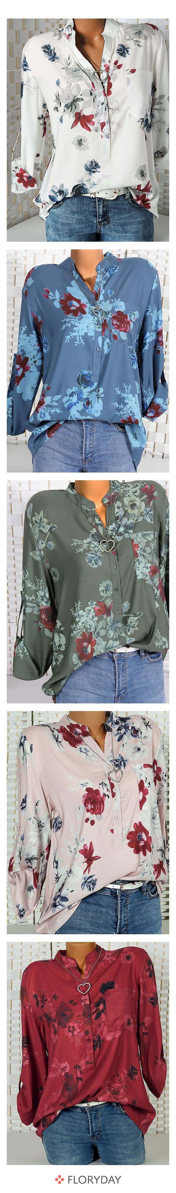 Photo of Long-sleeved blouses with a floral pattern and stand-up collar