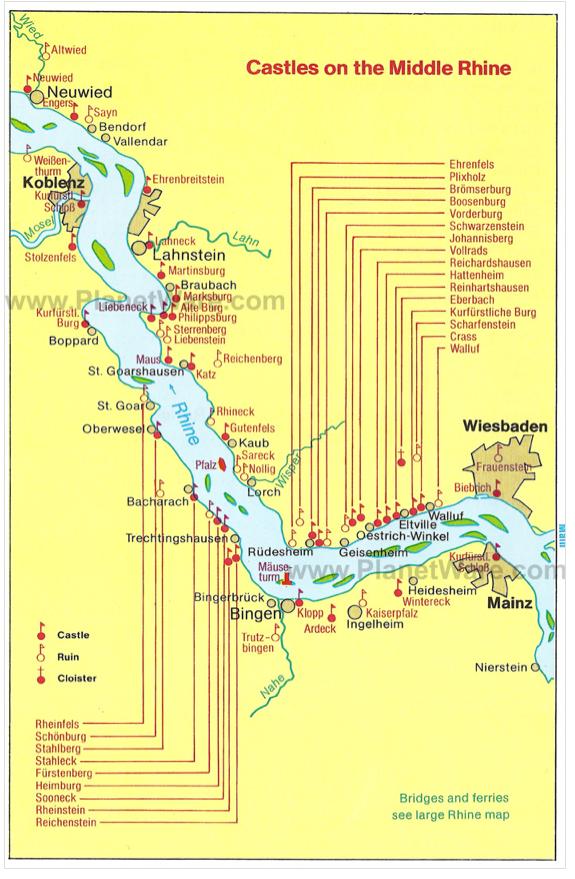 Map Of Rhine Valley And Its Castles Repinned By Www Gorara Com Reizen Naar Duitsland Duitsland Vakantie