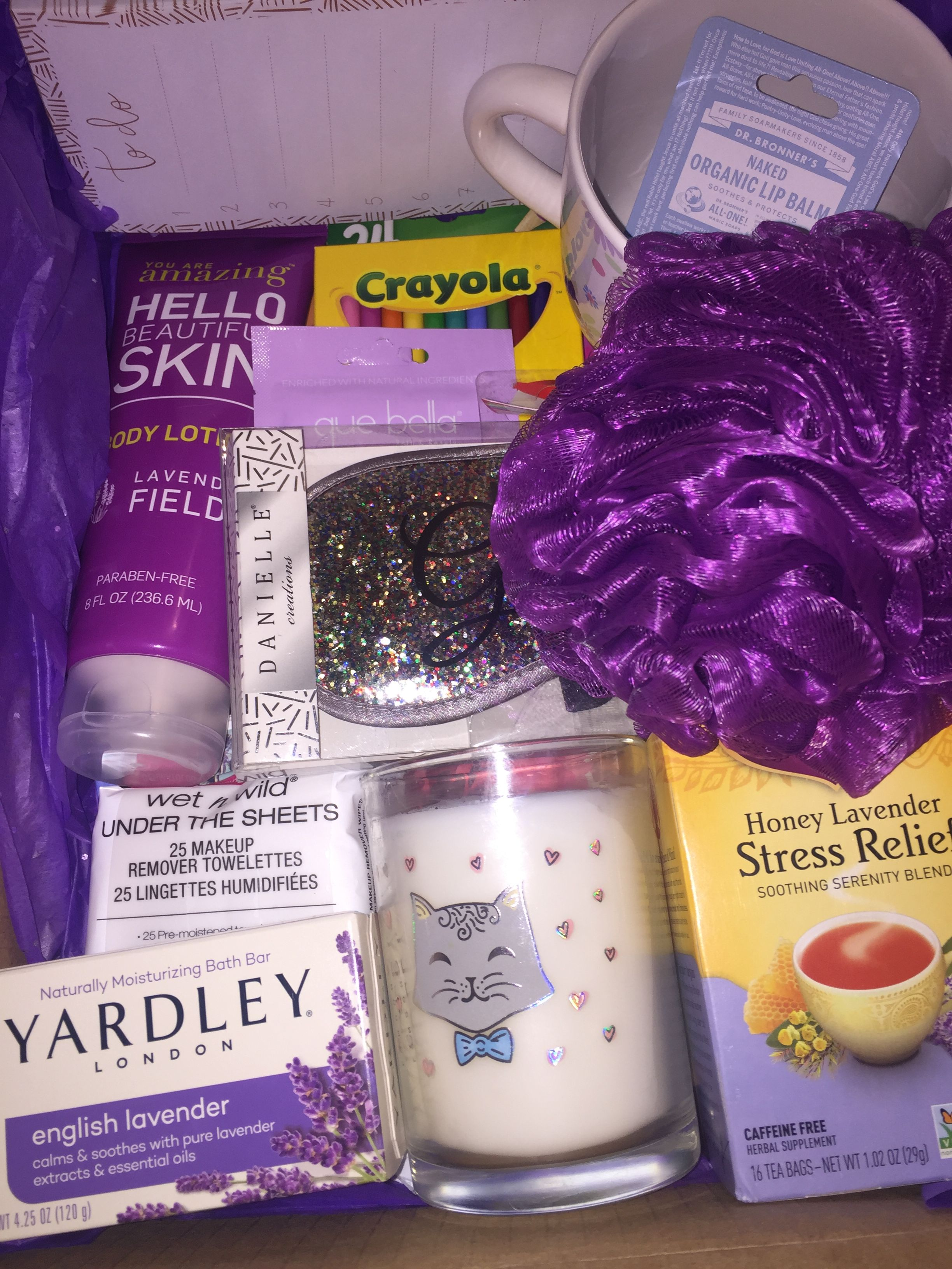 Worry Free Relaxing Care Package Gift For My Best Friend Purple Color Scheme Birthday Items Sketch Book Colored Pencils Flower Mug Stress Relief
