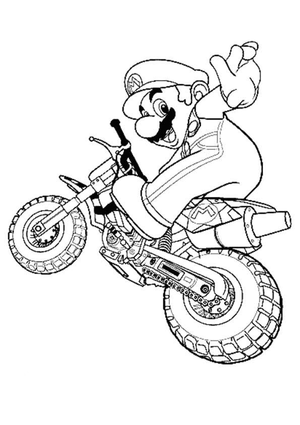 Mario Riding A Bike 16 With Images Super Mario Coloring Pages