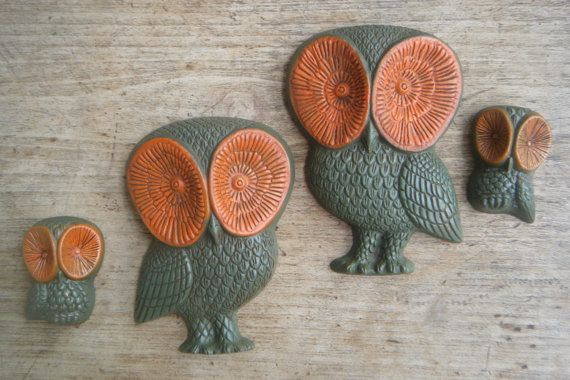 Retro 70s Owl Set Wall Decor Burnt Orange and Avacado Green on Etsy, Sold