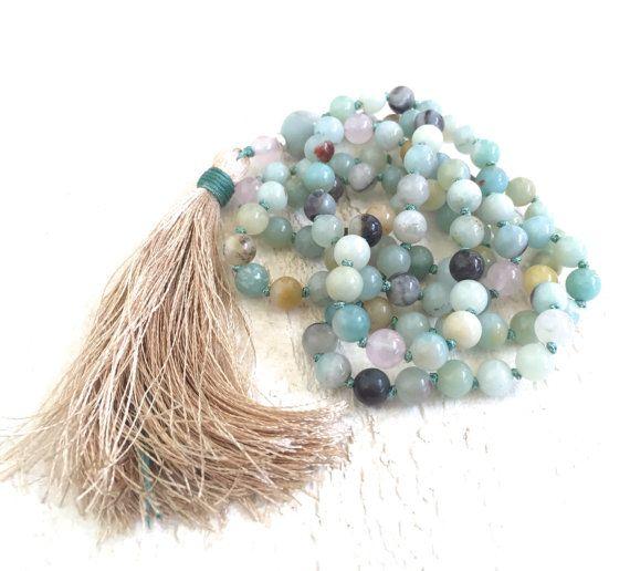 Amazonite And Silk Tassel Necklace, Bohemian Tassel Necklace, Yoga Jewelry, Long Gypsy Necklace, Layering Necklace, Gemstone Mala Beads