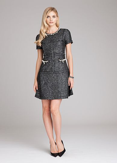 Tweed Dress with Pearl Trim | Teri Jon