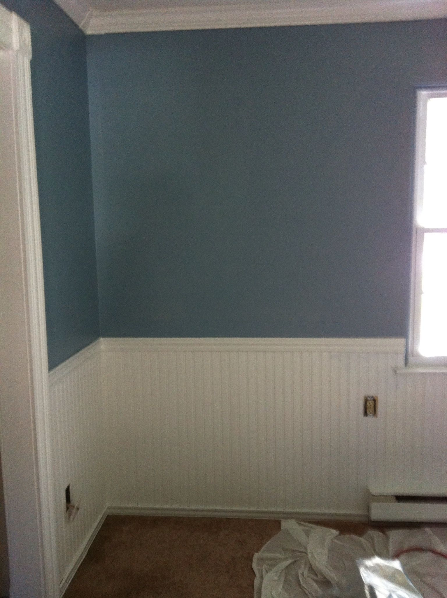 Wainscoting bedroom blue - Master Bedroom After With Sherwin Williams Meditative Blue Eggshell With White Eggshell On Wainscoting