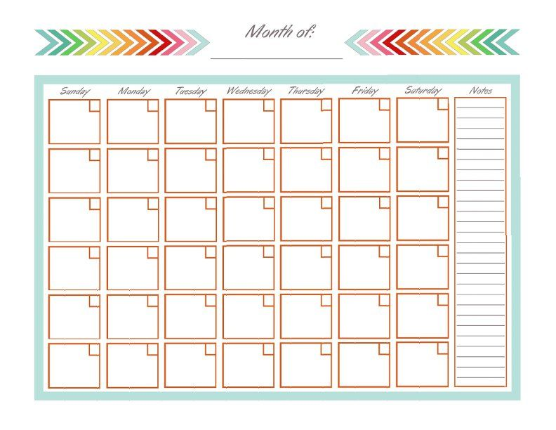 Home Management Binder  Monthly Calendar  Blank Monthly Calendar