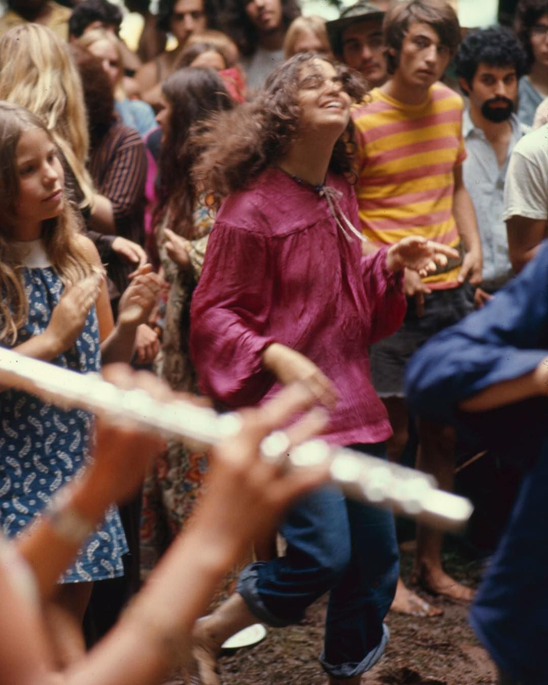 A carefree and fashionable scene from the Woodstock Music