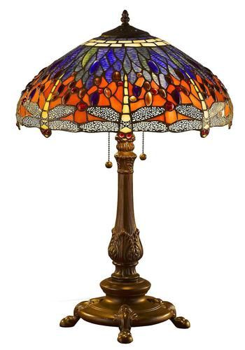 Tiffany Style Dragonfly Table Lamp 26 Inches Decorative Stained