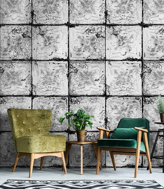 Large Old White Tile Effect Wallpaper Great For A Designer Creative Space White Tiles Tiles