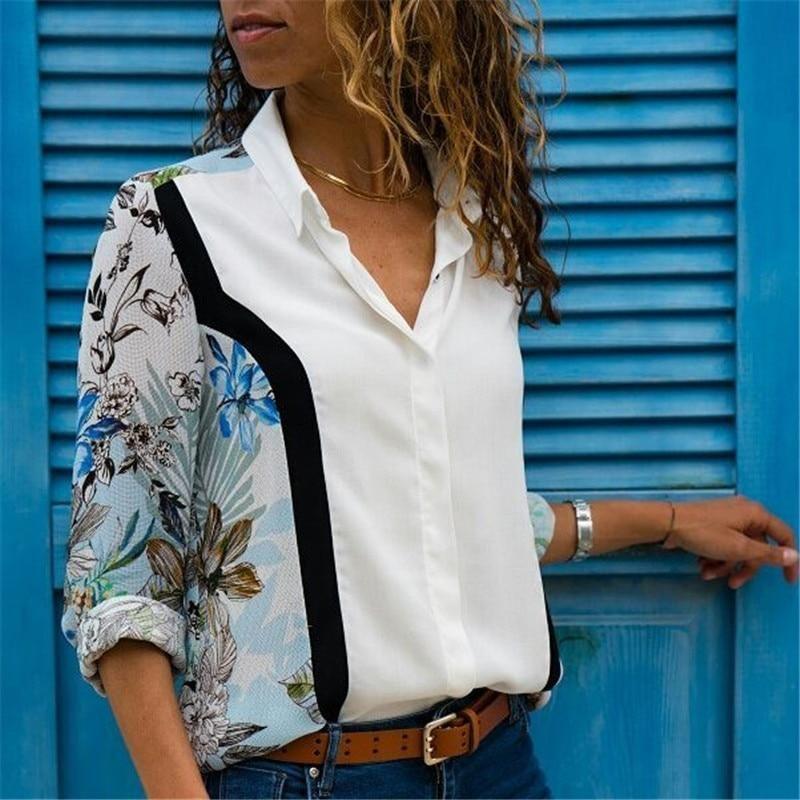 6908ea52 Women Blouses 2018 Fashion Long Sleeve Turn Down Collar Office Shirt  Chiffon Blouse Shirt Casual Tops
