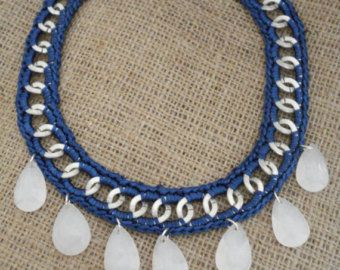 Crocheted blue chain statement necklace, teardrop beads