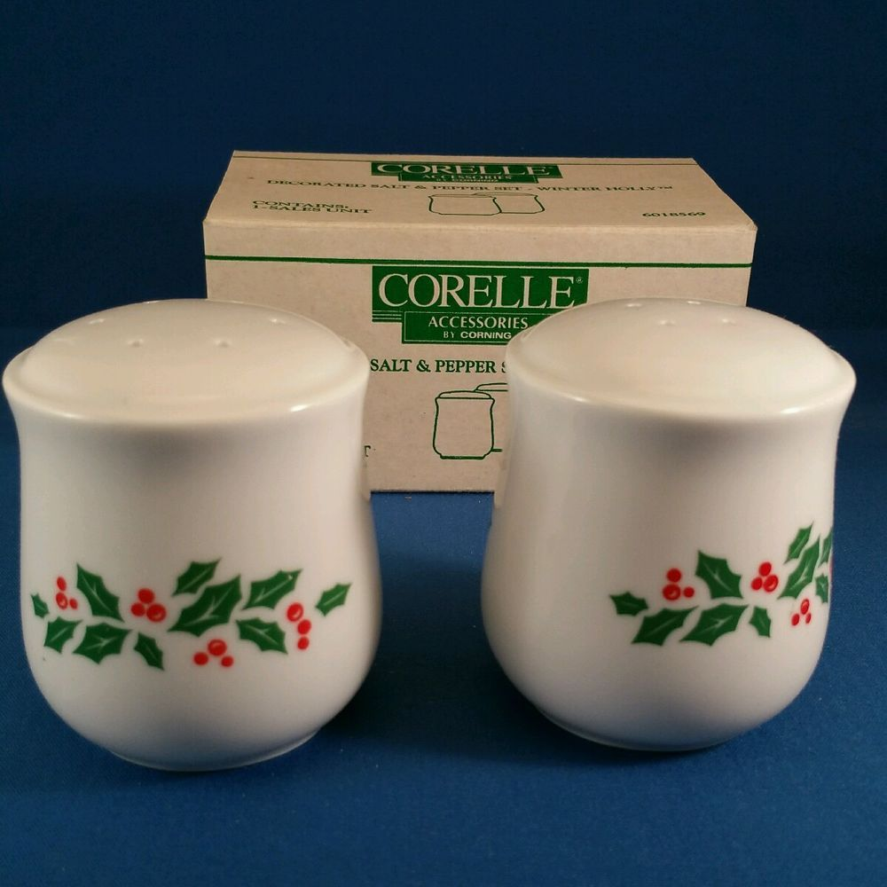 CORNING CORELLE CHRISTMAS WINTER HOLLY SALT & PEPPER SHAKERS SET ...