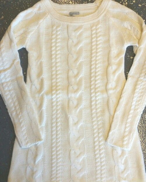 Cable knit winter white tunic sweater ♡