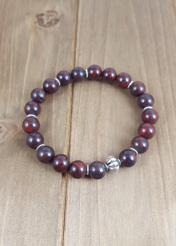 Women/'s  Jasper Gemstone Beaded stretch Bracelet