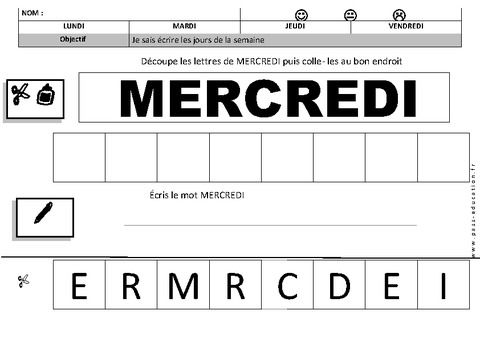 Le mot d couper et coller les lettres au bon endroit - Lettre a decouper ...