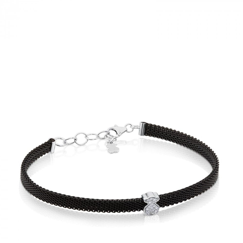 935263fd3bcd8 Steel and White Gold Icon Mesh Bracelet with Diamonds   Tous world ...
